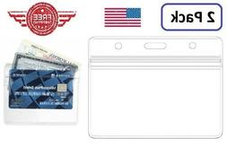 ID Card Holder Clear Plastic Badge Resealable Waterproof Bus