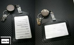 ID Passport Card Holder Name Tag Retractable Badge Black Lea