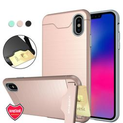For iPhone XS Max XR X 6 6S 7 8 Plus Shockproof Card Holder
