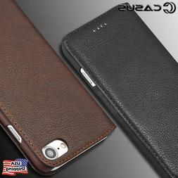 For iPhone XS MAX XR 6 Plus SLIM Genuine Leather Wallet Card