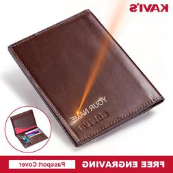 KAVIS Free Engraving Name Passport Cover Genuine Cow Leather