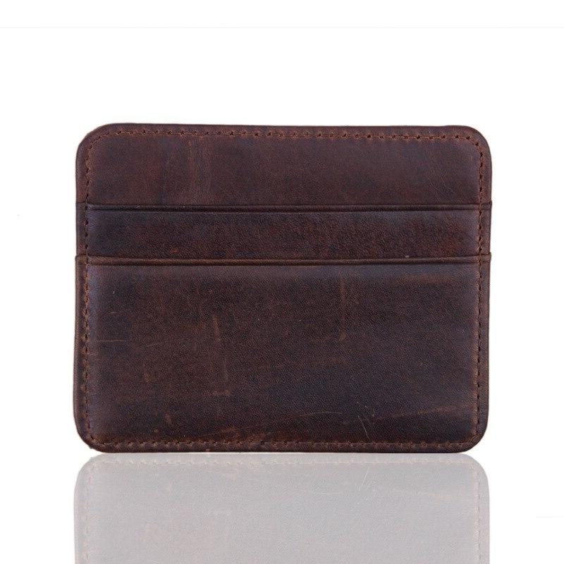 100% Real Genuine Leather Convenient ID Pocket Bank Credit <