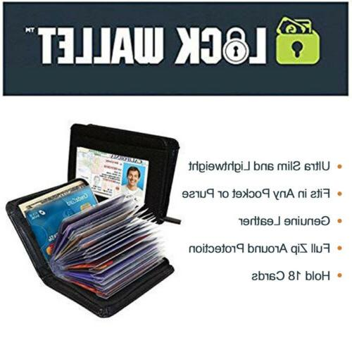 18 Cards PU Holder RFID Pocket USA