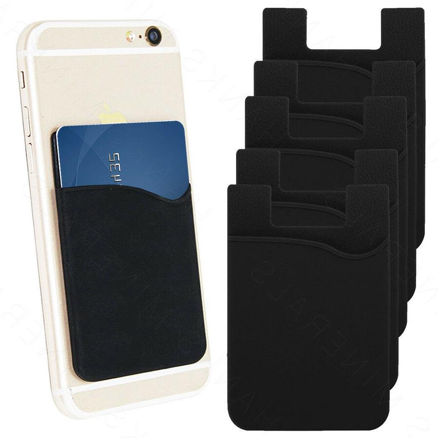 5x Silicone Credit Card Holder Cell Phone Wallet Pocket Stic