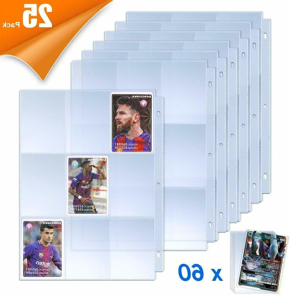 9 Pocket Trading Card Sleeves Pages Protector with 60 Pieces