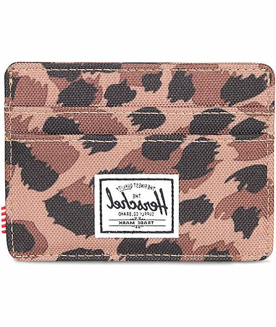 NWT Herschel Supply Co. Charlie Leopard Card holder Case Wal