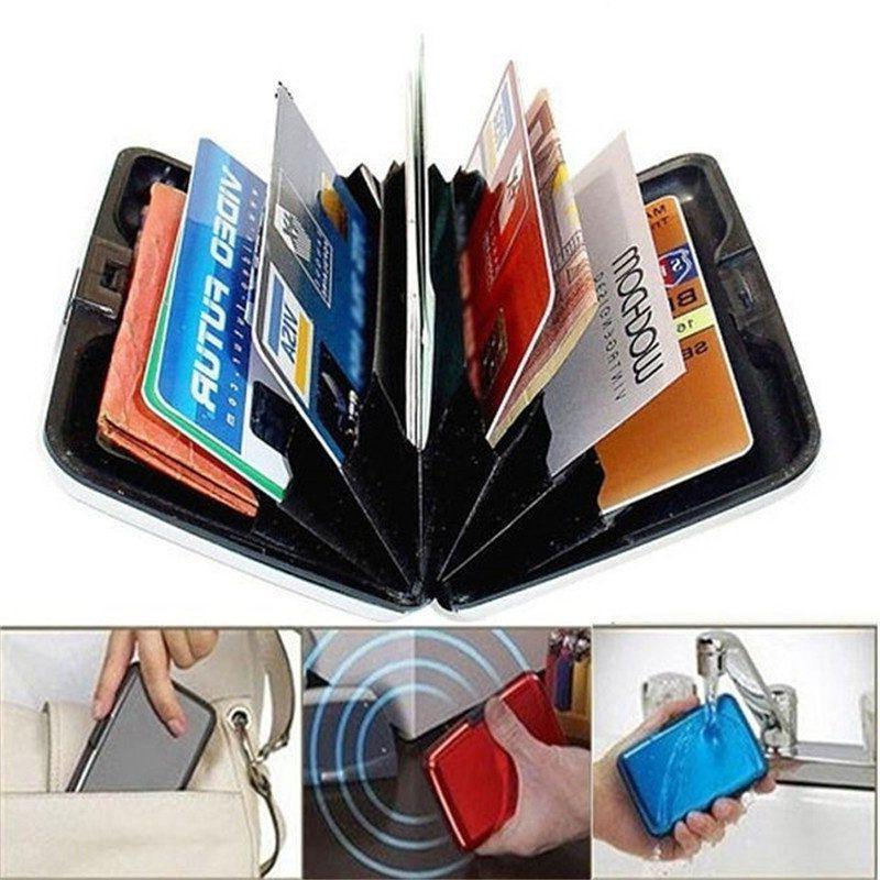aluminum metal wallet business id credit card