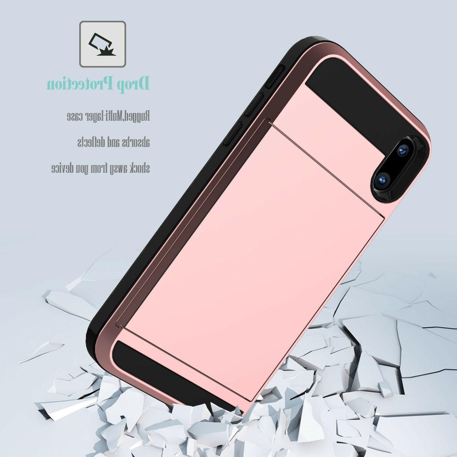 For iPhone Xs Max/XR/X Shockproof Hard Case With Wallet Credit Holder