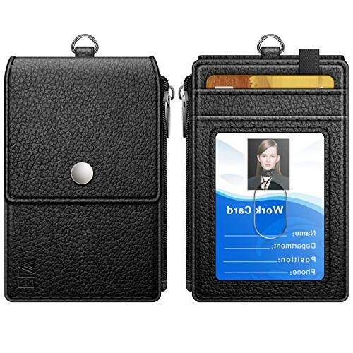 Badge Holder with Zipper, ELV Badge Holder with 5 Card Slots, 1 RFID Pocket Lanyard/Strap Offices ID, School