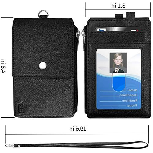 "Badge Holder Zipper, ELV PU Leather Badge Holder with Card 1 Pocket and 20"" Lanyard/Strap Offices ID, School Driver"