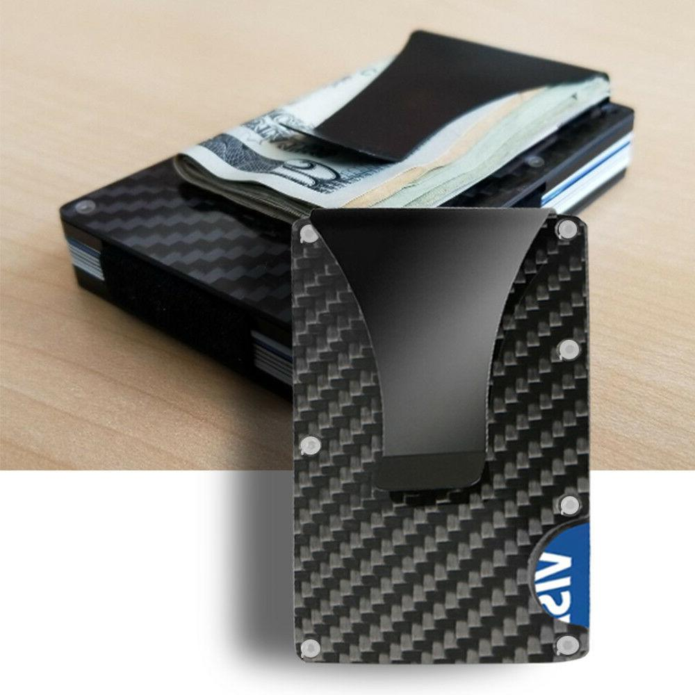 Black Carbon Fiber Card RFID Blocking Wallet Money