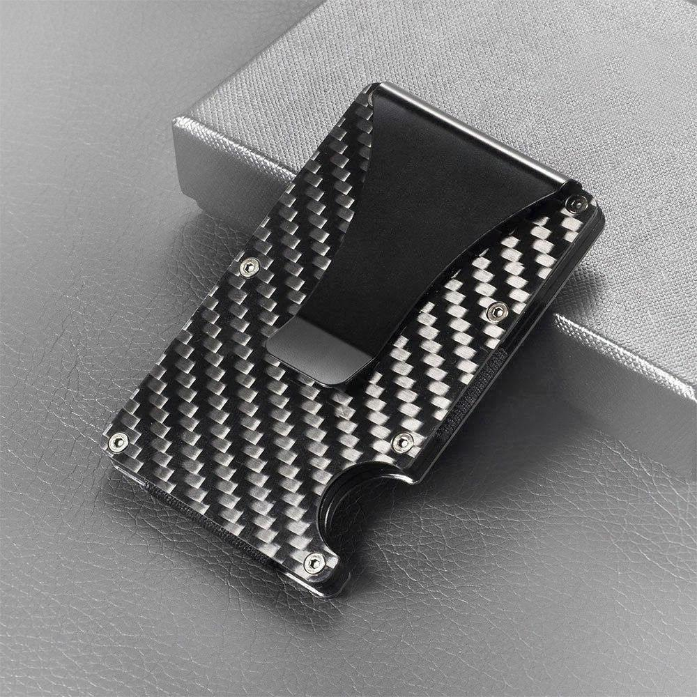 black carbon fiber metal credit card holder