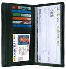 Black Leather Checkbook Cover Organizer Wallet Zip Card ID H
