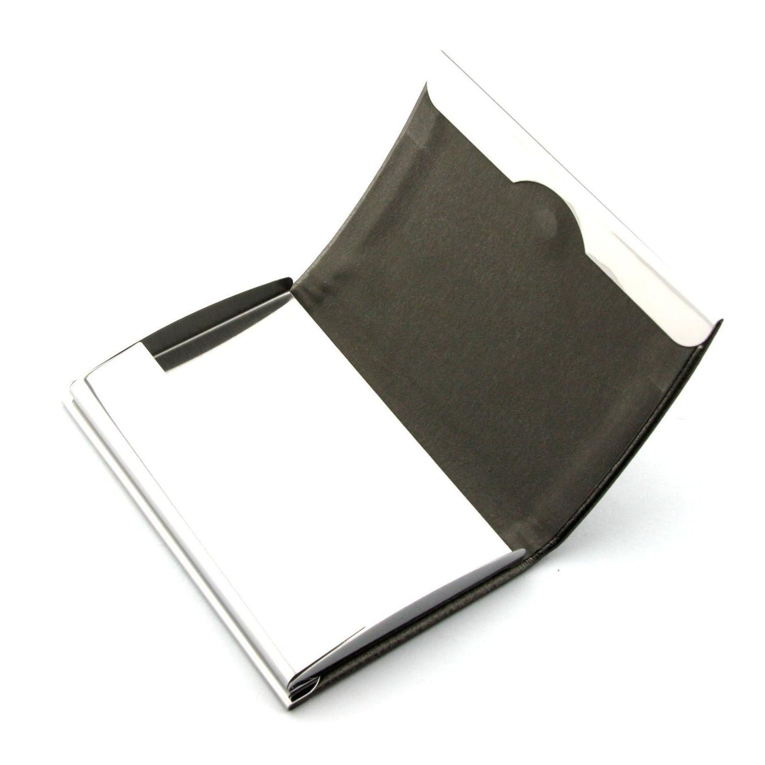 Black PU Pocket Metal Business Card Holder