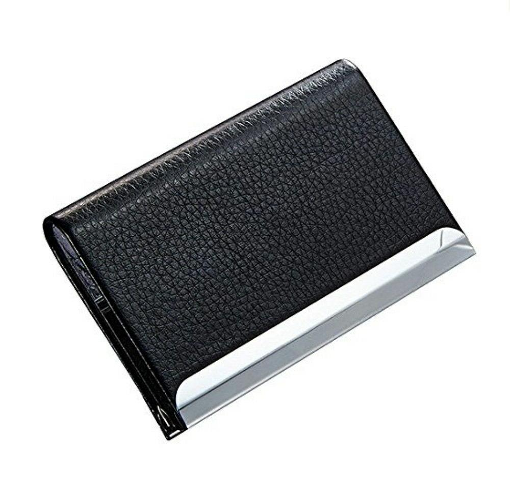 black pu leather pocket metal business id