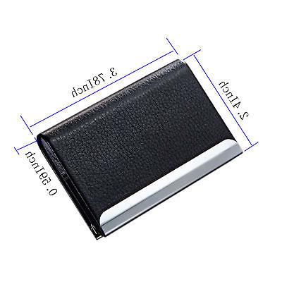 Black PU Leather Metal Business Card Case New