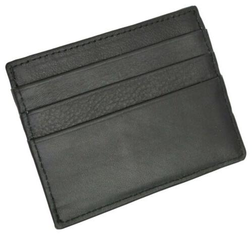 Black Slim Thin Leather Compact Holder by Marshal®