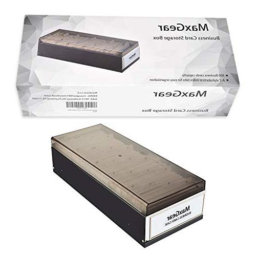 """MaxGear Business Card File Card Holder Storage Office Business Card Size 2.2"""" Large Cards"""