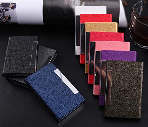 Business Business Luxury PU Leather Steel Card Holder Men and with Magnetic Shut Cards