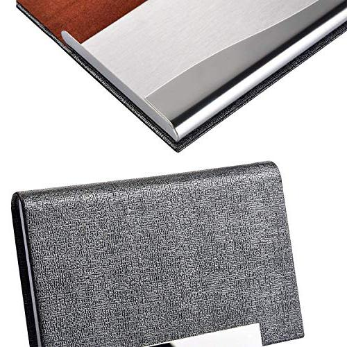 Business Card Holder, Business PU Leather Steel Men Women with Magnetic Cards Clean