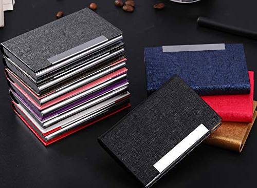 Business Business Case Luxury PU Leather and Stainless Steel Holder Men Magnetic