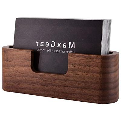 MaxGear Business Card Holder Wood Business Card Holder for D