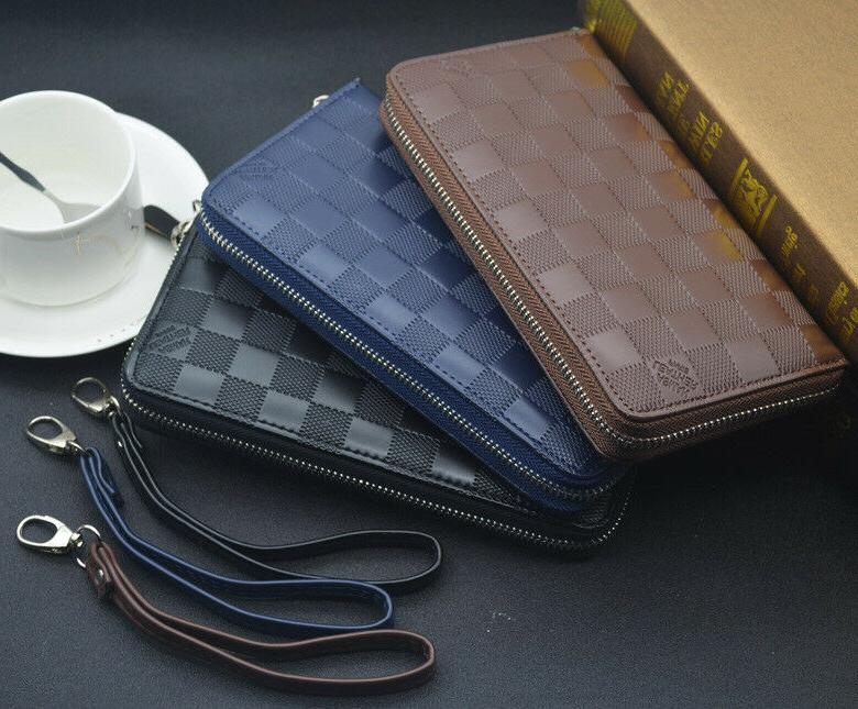 Business Men's Leather Wallet Purse Zipper Card Holder Handbag Gift