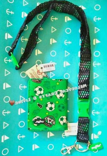 SMIGGLE CARD HOLDER W REMOVABLE LANYARD SOCCER BALLS