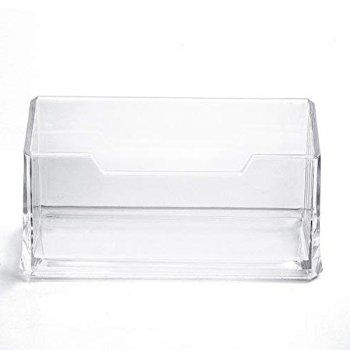 MaxGear Clear Business Holder Stand for Desk Plastic Business Card Holder, Compartment, Fits 50-60 Cards Capacity, Pack