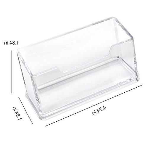 MaxGear Clear Business Card Holder Acrylic Stand for Desk Business Card Compartment, Cards Capacity, 4 Pack