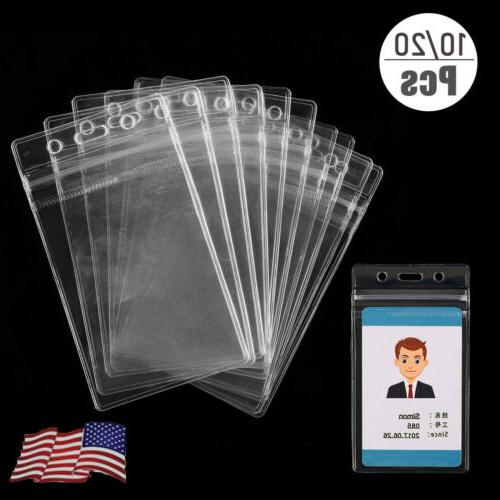 clear id card holder plastic badge resealable