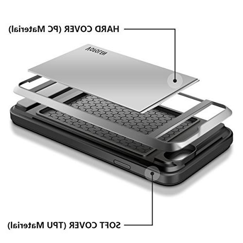 Vofolen for 6S Card Slot Hidden Hybrid Protective Shell Rugged Bumper Armor Anti-Scratch Cover Card Holder iPhone 6 6S Silver