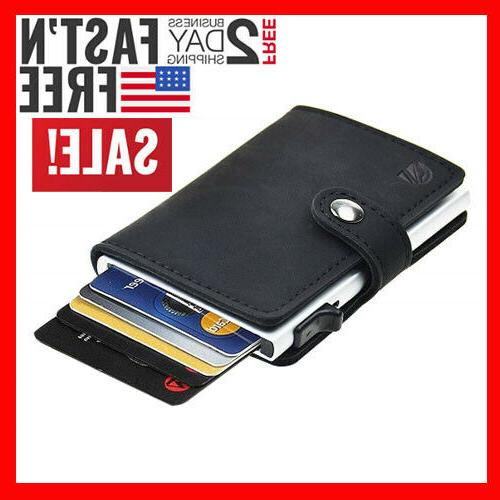 credit card holder rfid blocking genuine leather