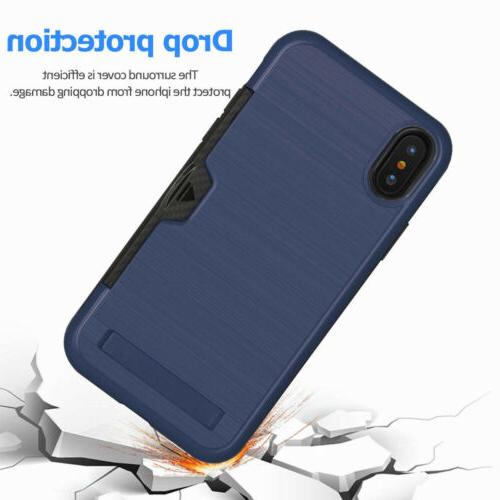 Credit ID Card with Stand Phone For iPhone XS XR 8 6S