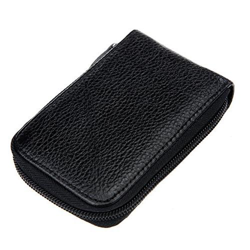 DKER Credit Card Case Organizer Compact Wallet with Window - Black