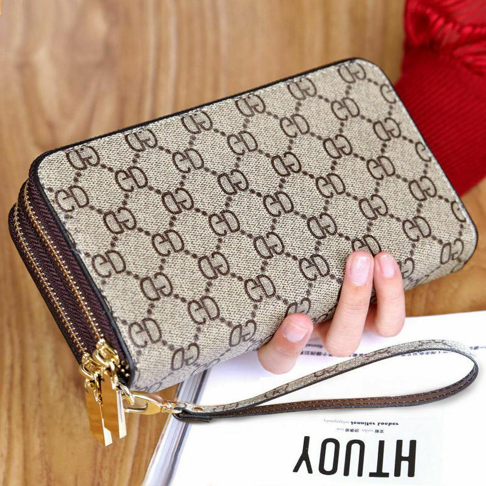 Wristlet Wallets for Women Leather Long Zipper Clutch with C