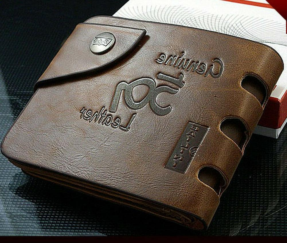fashion mens genuine leather bifold wallet credit