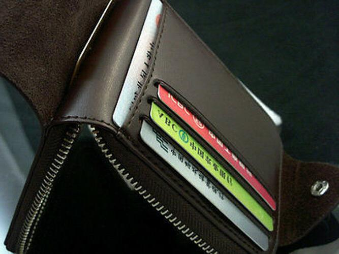 Fashion Short Wallet Man with Leather Purse Card Holder