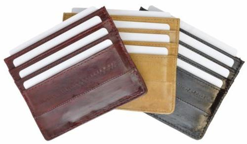 Genuine eel skin soft slim credit card holder Men's wallet b