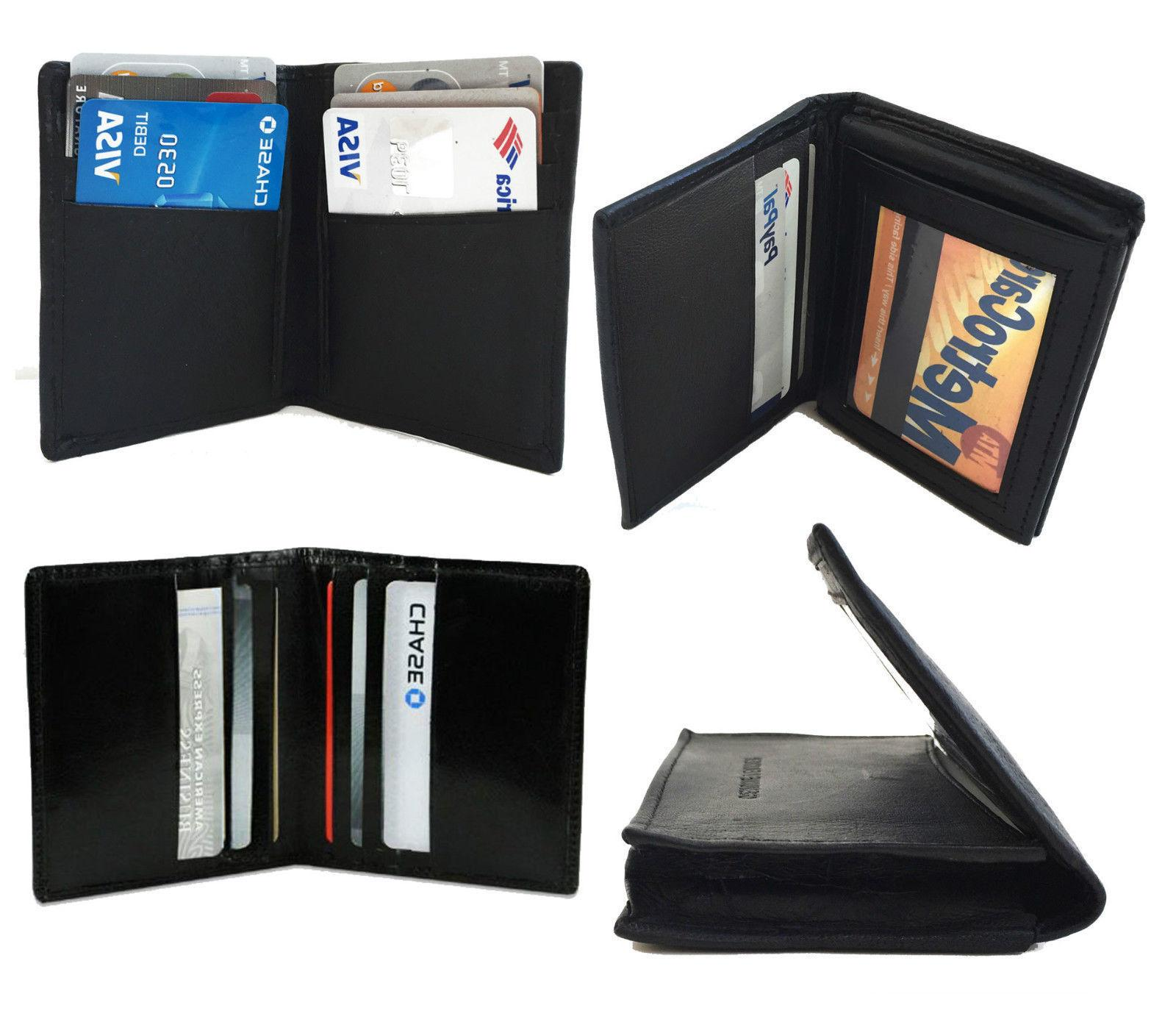 Genuine Leather 18+ Card Holder Mens Front Wallet