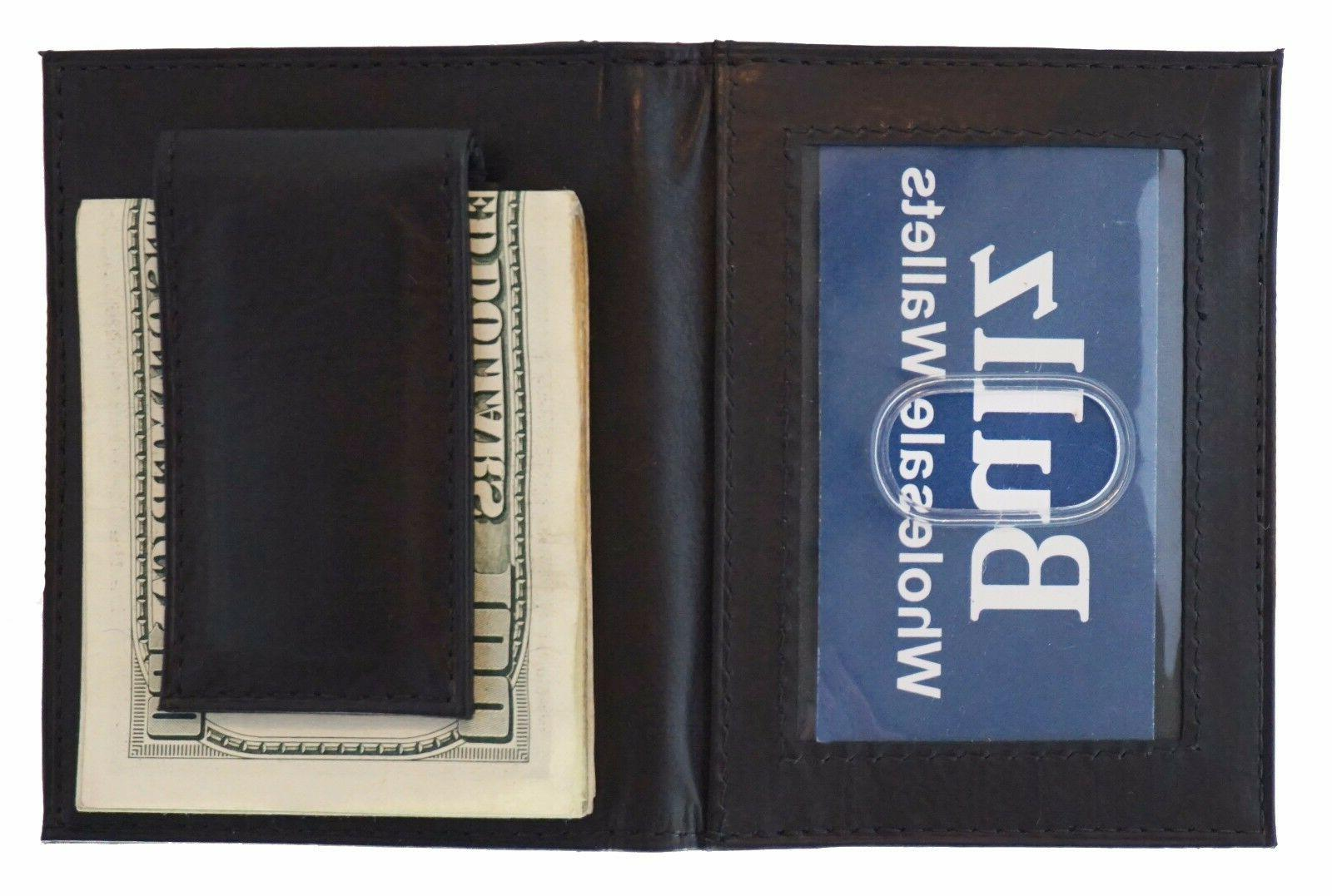 Mens Leather Clip Slim Black Credit Holder