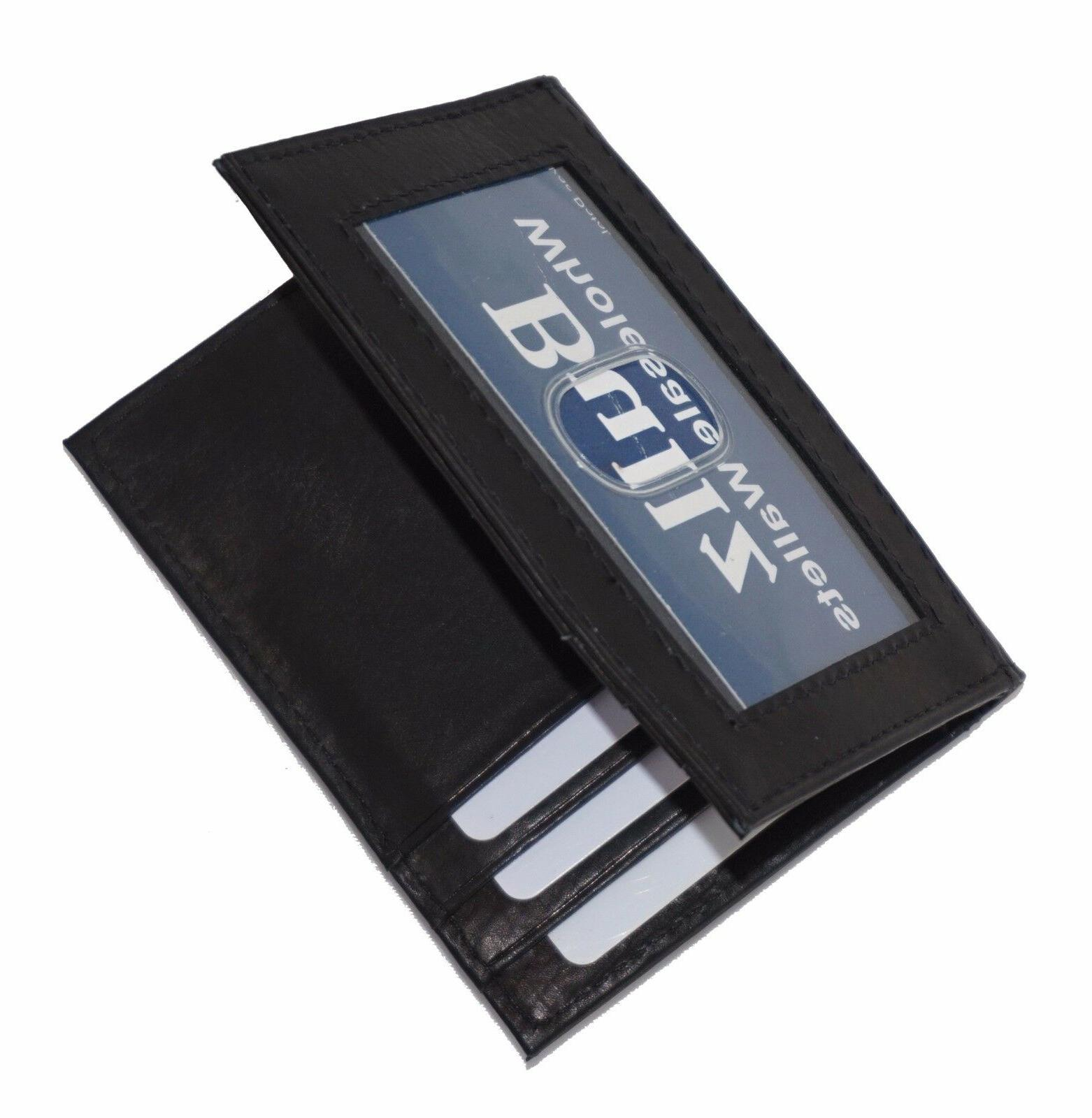 Mens Leather Clip Black ID Credit Card Holder