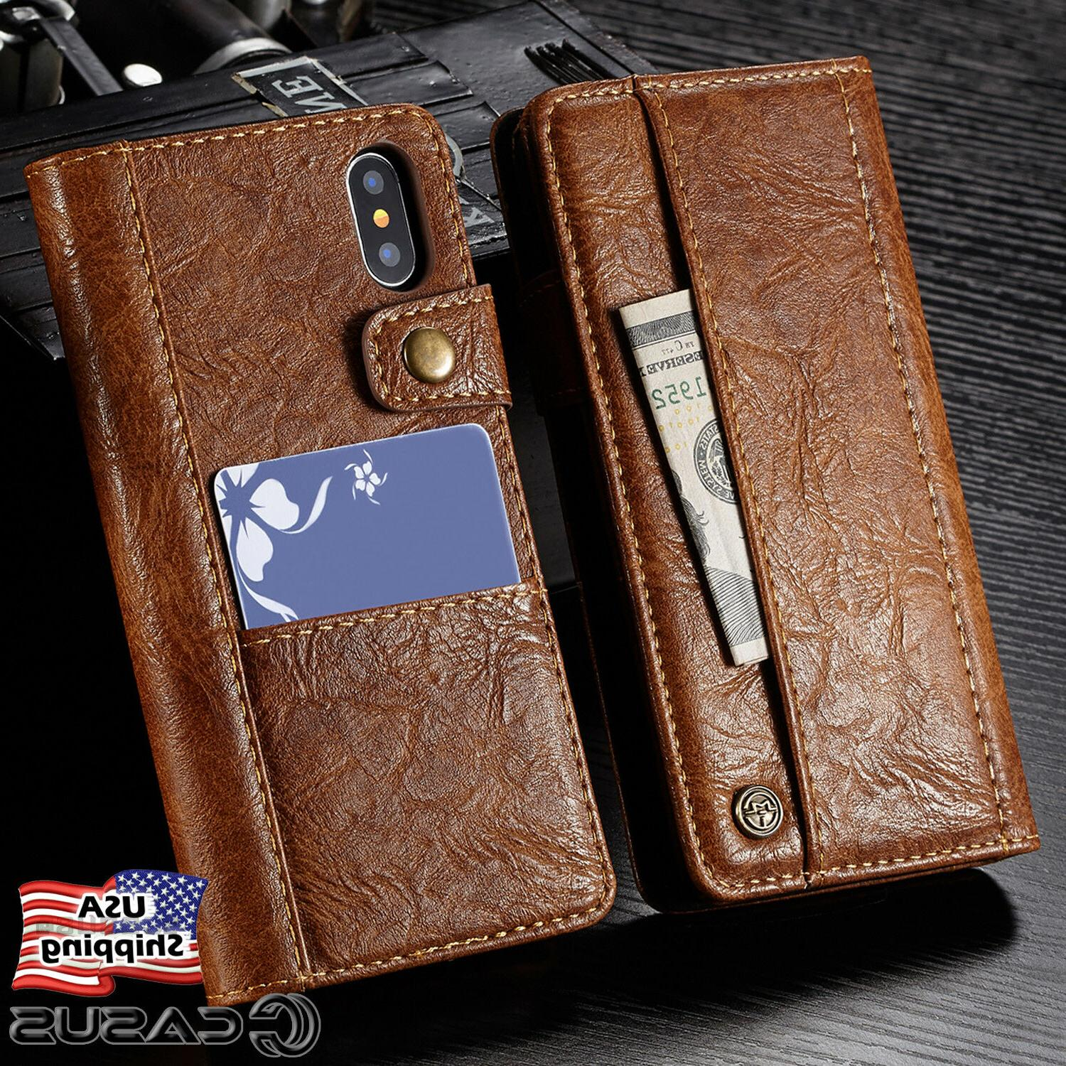 genuine leather wallet card holder flip stand