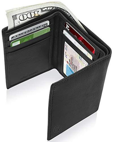genuine leather wallets for men trifold mens
