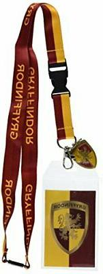 Harry Potter Gryffindor Lanyard With 3D Metal Charm ID Card