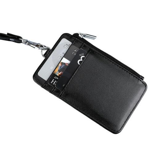 ID Card Holder Pu Leather Neck Strap Lanyard Necklace Case