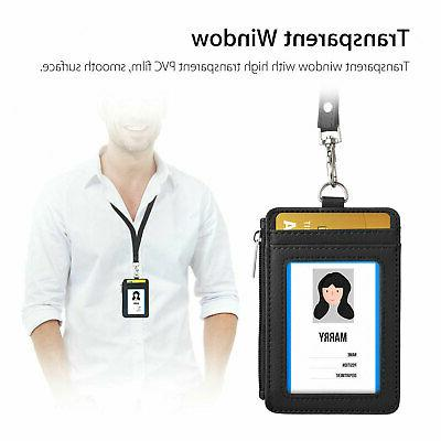 ID Holder Pu Leather Vertical Clip Neck Lanyard Necklace