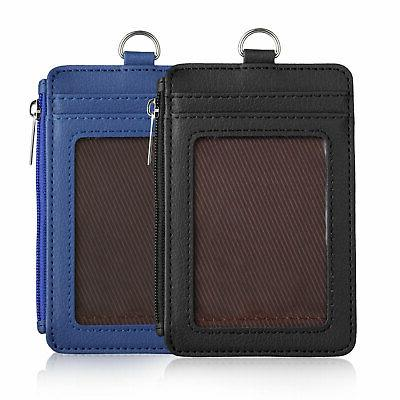 ID Badge Pu Leather Vertical Neck Strap Lanyard Case
