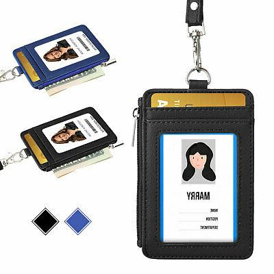 id badge card holder pu leather vertical