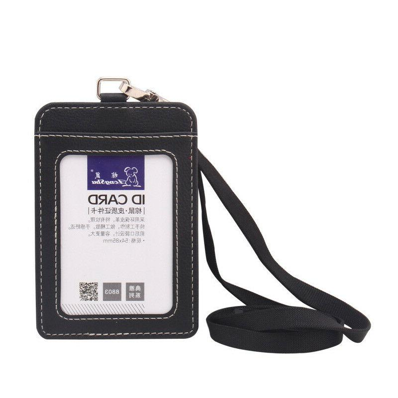 ID Badge Card Holder Pu Leather Vertical Clip Neck Strap Lan